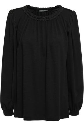 ALBERTA FERRETTI Braid-trimmed stretch-knit blouse