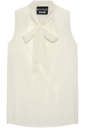 BOUTIQUE MOSCHINO Pussy-bow silk crepe de chine top