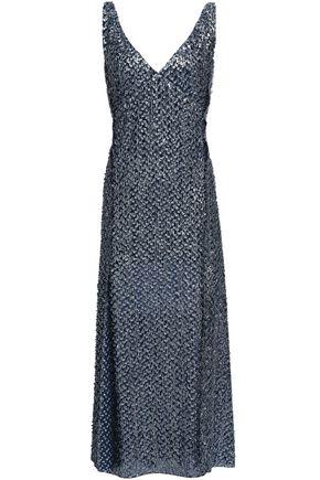 ROLAND MOURET Metallic fil coupé midi dress