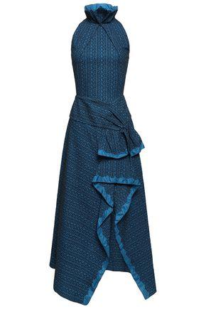 ROLAND MOURET Adler satin-trimmed cotton-blend cloqué maxi dress