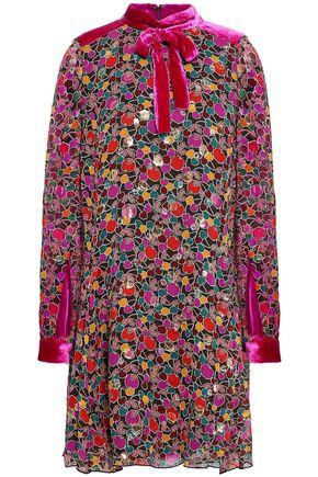 ANNA SUI Velvet-trimmed metallic fil coupé pirnted silk-blend mini dress