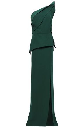 ROLAND MOURET Acosta one-shoulder split-front wool-crepe peplum gown