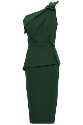 ROLAND MOURET | Roland Mouret One-Shoulder Pleated Wool-Crepe Peplum Midi Dress | Goxip