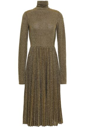 PHILOSOPHY di LORENZO SERAFINI Pleated metallic knitted turtleneck midi dress