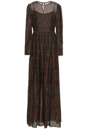 PHILOSOPHY di LORENZO SERAFINI Pleated floral-print chiffon maxi dress