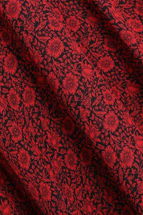 PHILOSOPHY di LORENZO SERAFINI Lace-paneled floral-print crepe midi dress