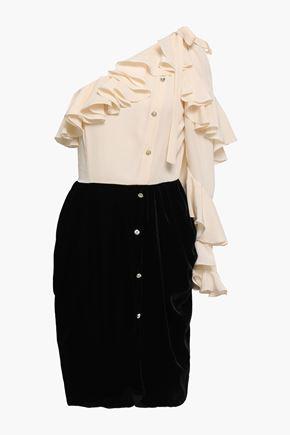 PHILOSOPHY di LORENZO SERAFINI One-shoulder ruffled crepe de chine and velvet dress