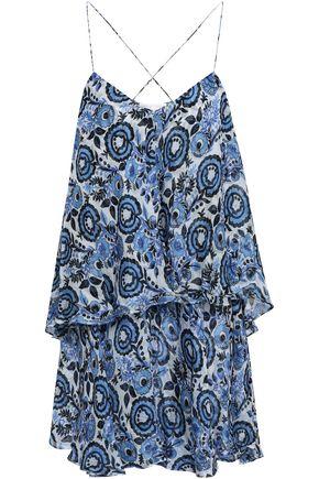 CAROLINE CONSTAS Layered printed silk-voile mini dress