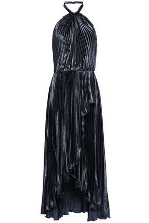 PHILOSOPHY di LORENZO SERAFINI Open-back pleated lamé halterneck midi dress