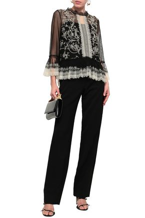 ALBERTA FERRETTI Lace-trimmed embroidered cotton-blend tulle blouse