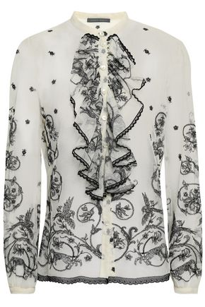 ALBERTA FERRETTI Embroidered cotton-blend tulle shirt