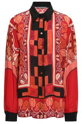 ALBERTA FERRETTI Printed silk-crepe blouse