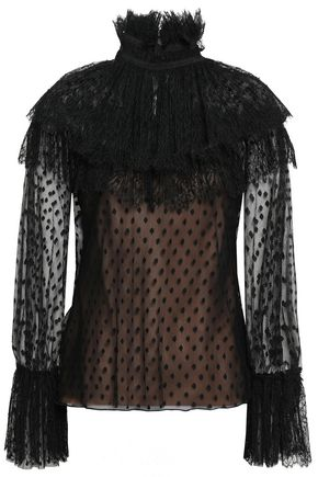 ALBERTA FERRETTI Lace-trimmed point d'esprit blouse