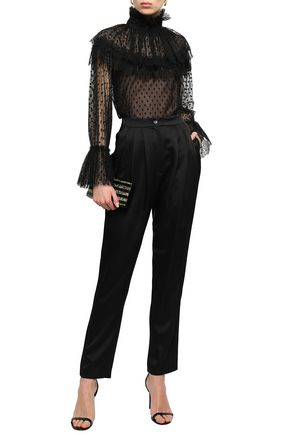 ALBERTA FERRETTI Lace-trimmed point d'esprit blouse