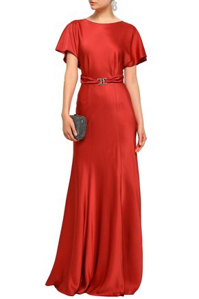 ALBERTA FERRETTI Crystal-embellished belted crepe-satin gown