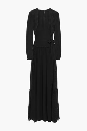 ALBERTA FERRETTI Lace-trimmed gathered silk-chiffon maxi dress