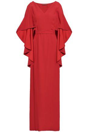 ALBERTA FERRETTI Cape-effect satin-crepe gown
