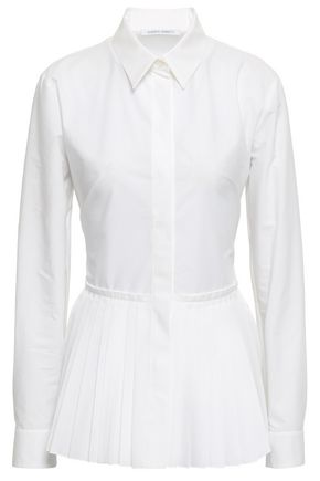 ALBERTA FERRETTI Pleated cotton-blend poplin shirt