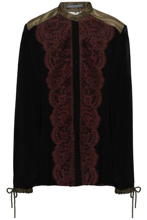 ALBERTA FERRETTI Paneled silk-georgette, satin and lace shirt