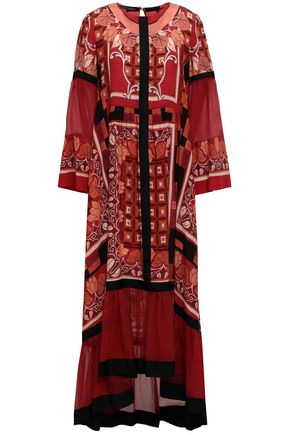 ALBERTA FERRETTI Fluted printed silk crepe de chine and georgette midi dress