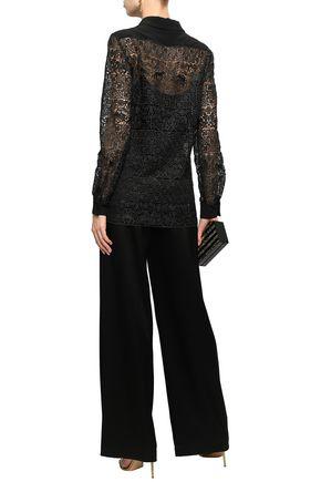 ALBERTA FERRETTI Satin-trimmed guipure lace shirt