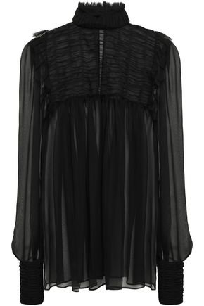 ALBERTA FERRETTI Ruffle-trimmed shirred tulle and silk-chiffon blouse