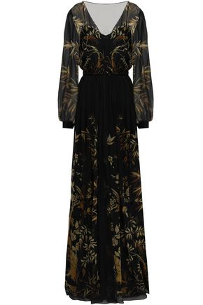 ALBERTA FERRETTI Tassel-trimmed printed silk-chiffon gown