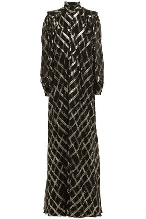 ALBERTA FERRETTI Pussy-bow metallic fil coupé silk-blend midi dress