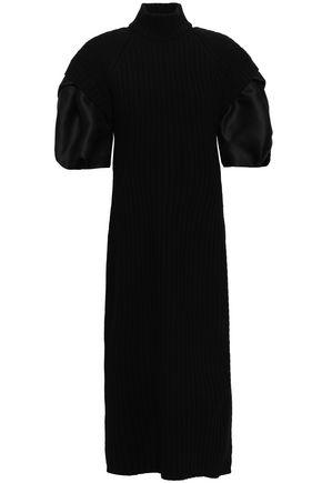 ALBERTA FERRETTI Wrap-effect silk organza-paneled wool midi dress