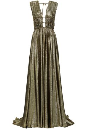 ALBERTA FERRETTI Cutout gathered silk-blend lamé gown
