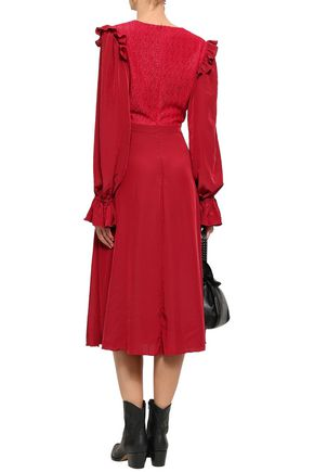 PHILOSOPHY di LORENZO SERAFINI Lace-paneled crepe de chine midi dress