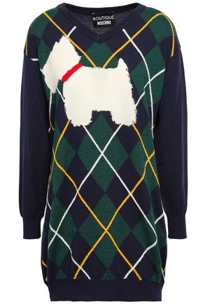 BOUTIQUE MOSCHINO Intarsia wool mini dress