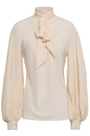 PHILOSOPHY di LORENZO SERAFINI Pussy-bow gathered crepe de chine blouse