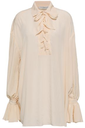 PHILOSOPHY di LORENZO SERAFINI Lace-up ruffled crepe de chine mini shirt dress