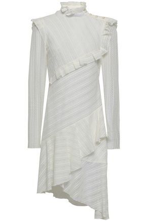 PHILOSOPHY di LORENZO SERAFINI Asymmetric ruffled cotton-blend lace dress