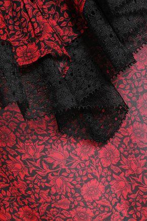 PHILOSOPHY di LORENZO SERAFINI Lace-trimmed floral-print crepe blouse