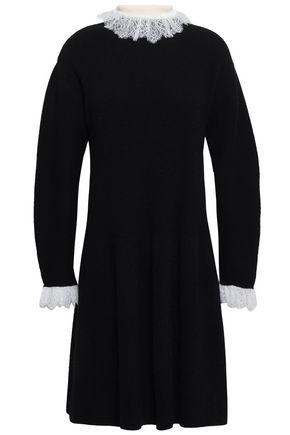 PHILOSOPHY di LORENZO SERAFINI Lace-trimmed ribbed-knit wool-blend mini dress