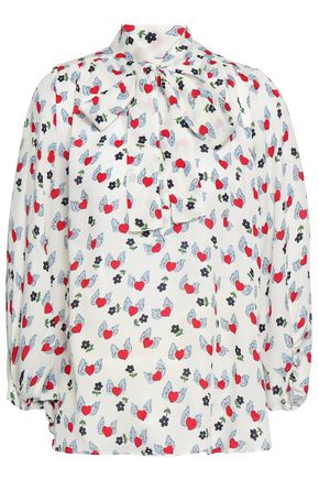 CHINTI AND PARKER Pussy-bow printed silk crepe de chine blouse