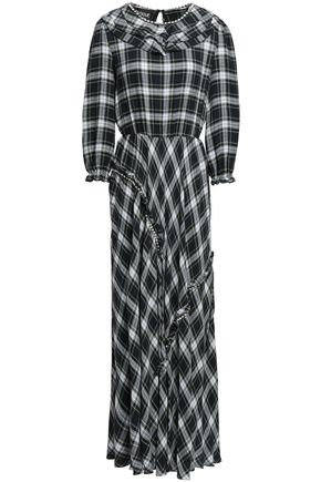BOUTIQUE MOSCHINO Crystal-embellished checked crepe maxi dress