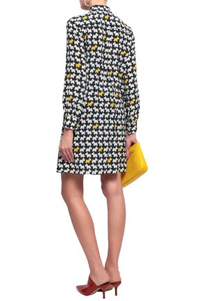 BOUTIQUE MOSCHINO Pussy-bow printed crepe de chine shirt dress