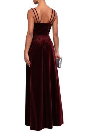 MOSCHINO Gathered cotton-velvet gown