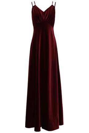 MOSCHINO Gathered cotton-velvet gown