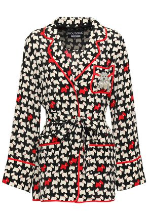 BOUTIQUE MOSCHINO Belted embellished printed silk crepe de chine shirt