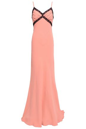 MOSCHINO Lace-trimmed gathered satin-crepe gown