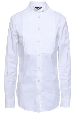 MOSCHINO Pleated cotton-blend poplin shirt