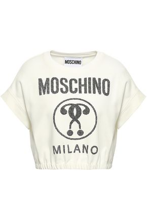 MOSCHINO Printed cotton-blend jersey T-shirt