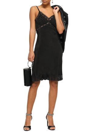 MOSCHINO Lace-trimmed woven slip dress