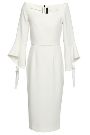 ROLAND MOURET Grosgrain-trimmed bow-detailed crepe dress