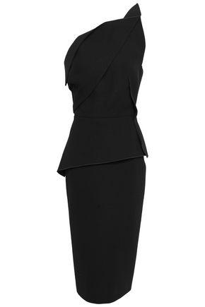 ROLAND MOURET One-shoulder wool-crepe peplum midi dress