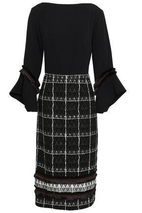 ROLAND MOURET Fluted cotton-blend jacquard and crepe dress
